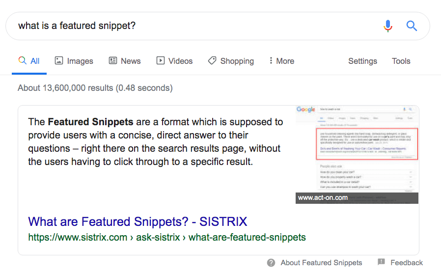 google feature snippet example