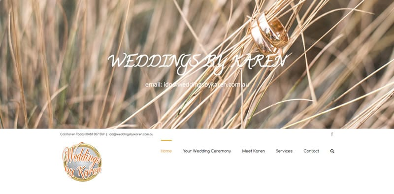 ZAAAX Website Design - Weddings by Karen