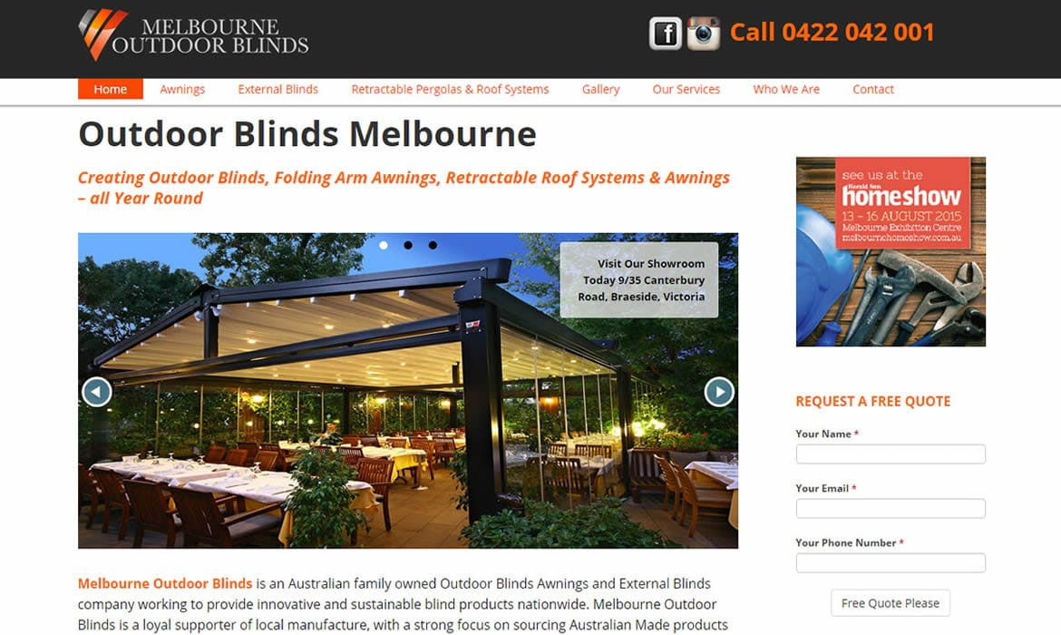 Web Design - Melbourne Outdoor Blinds