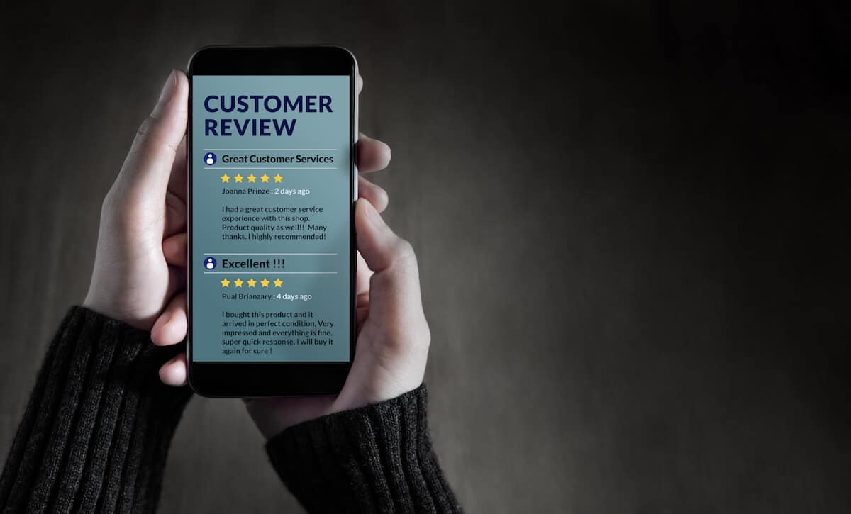 5 star reviews on mobile phone