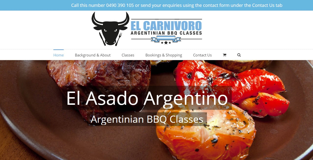 Web Design - El Carnivoro Argentinian BBQ Classes @ ZAAAX