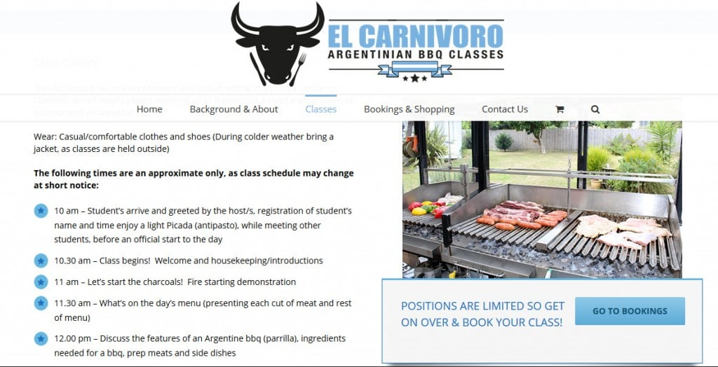 Web Design - El Carnivoro BBQ Classes @ ZAAAX
