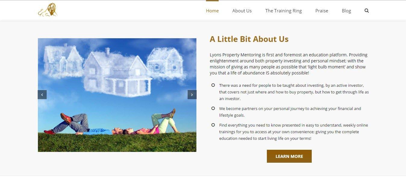 Web Design - Lyons Property Mentoring @ ZAAAX